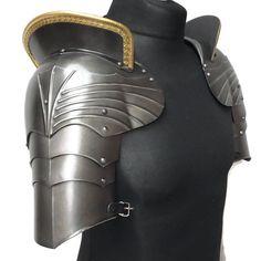 Polyurethane Decorative Gothic style Medieval shoulder pauldrons with haute-pieces Medieval Gothic, Medieval Knight, Medieval Armor, Medieval Fashion, Viking Armor, Larp Armor, Knight Armor, Dark Warrior, Pauldron