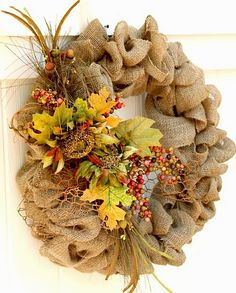 Easy Fall burlap wreath from Duke Manor Farm