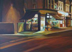 """Saatchi Art Artist Sarah Ann Mitchell; Painting, """"Corner Shop SOLD"""" #art"""