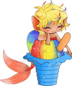 Another in my food & sweet chibi series commission, each food will have a different feel and expression. Others in this series: Rainbow Shaved Ice Mermaid Commission Kawaii Doodles, Kawaii Chibi, Anime Chibi, Manga Anime, Anime Art, Cartoon Drawing Tutorial, Cartoon Drawings, Cute Drawings, Anime Mermaid