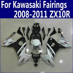 348.75$  Watch here - http://aie5q.worlditems.win/all/product.php?id=32733018482 - Abs Fairings For Kawasaki Ninja zx10r 2008 2009 2010 2011 08 09 10 11 White black Fairing kit +Customize free n10