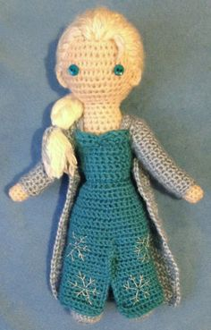 """Amigurumi Elsa, from Disney's """"Frozen.""""  Free pattern available on Ravelry!  Look for Elsa - Crocheted Doll by Becky Ann Smith."""