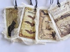 Delightfully cheesecloth adorned, vintage inspired Halloween tags.