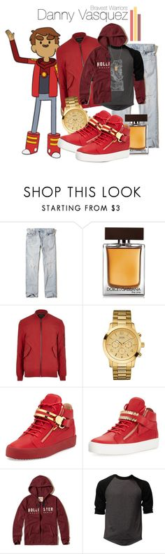 """Danny Vasquez❤️"" by luiglesias ❤ liked on Polyvore featuring Hollister Co., Dolce&Gabbana, River Island, GUESS, Giuseppe Zanotti, Versace, men's fashion, menswear, red and adventure"