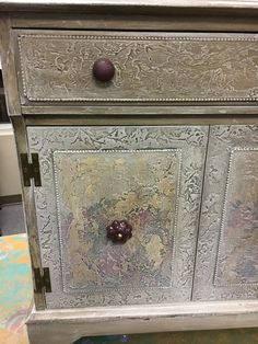 """Fresco Finish with a """"Faux"""" Beaded Edge This is the """"Before"""" cabinet. I was not happy with the louvered doors so I created ..."""