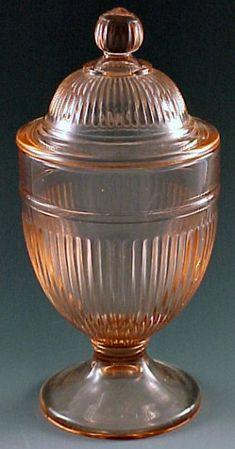 Pink Depression Glass candy jar