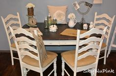 Old White, Walnut & Burlap. Annie Sloan Chalk Paint! For dining room furniture (backs of chairs would be reupholstered using strips of nailhead trim from Joann's)