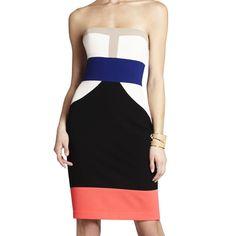 Bcbgmaxazria Reese Strapless Color-Block Dress 0