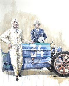 Hellé Nice devant sa Bugatti, peinture de l'artiste anglais Dan Gwinett. Toutes les infos sur News d'Anciennes : http://newsdanciennes.com/2015/02/14/morceaux-darts-du-samedi-dan-gwinett/