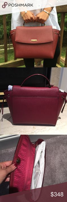 """Kate Spade Wine Leather Satchel Bag Brand New Kate Spade Satchel in saffiano leather. Comes with removable adjustable strap can be worn as a Crossbody.   One inside zipped pocket and two open pocket. Measurements 10"""" bottom 12"""" top X 9"""" X 4.5""""    ✔️ Bundle Discounts  ✔️ Reasonable Offers through offer button  ❌ Low Balling  ❌ Trades kate spade Bags Satchels"""