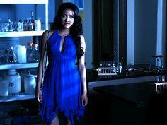 Emily from Pretty Little Liars wearing a blue dress