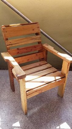 With the help of some nails and a hammer, pallets can be recycled into a pallet chair. It would be very simple. You can make it of any desired size. In order to make it unique, you may cut a small piece of a pallet from its both arms. It would make it look better.