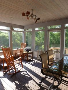 want a screened in porch with a table to eat, but also a seating/conversation area!