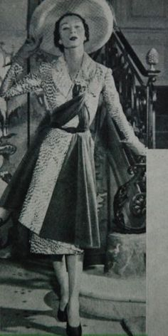 dress with asymmetrically wrapped skirt and draped scarf, Libelle 1951