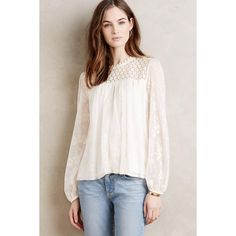 Everleigh Embroidered Lace Peasant Blouse ($118) ❤ liked on Polyvore featuring tops, blouses, ivory, petite, pink top, ivory lace blouse, pink lace blouse, ivory blouse and ivory lace top