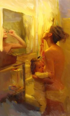 """""""Multitasking"""" - Ricky Mujica {contemporary figurative art semi-nude woman breastfeeding infant suckling child profile smudged painting} Maternal!!"""