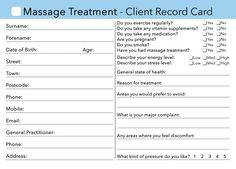 massage client card
