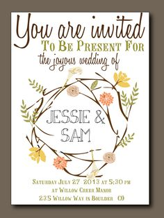 Items similar to Bohemian Summer Wedding Invitation with RSVP postcard // Featuring Floral Bouquets, Vintage Style // Printed or Printable Wedding Invitation on Etsy Spring Wedding, Boho Wedding, Rustic Wedding, Bohemian Weddings, Summer Wedding Invitations, Wedding Stationery, Bohemian Invitation, Printable Wedding Programs, Diy Outdoor Weddings