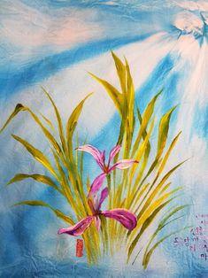 염색 손수건에 타래붓꽃. : 네이버 블로그 Saree Painting, Idea Paint, Art Production