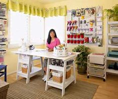 I love this room.  I want TWO of these great work desks together (in my giant craft room) to make one big surface for me or for two of us to work together. This one's from Target but I saw a similar great one at IKEA for a great price!