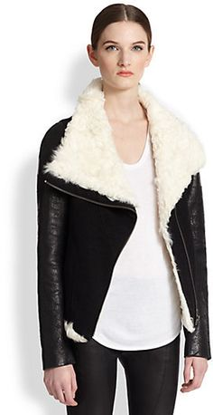 Helmut Lang Draped-Collar Shearling Biker Jacket | #Chic Only #Glamour Always