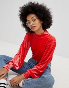 Pieces | Pieces High Neck Velvet Top With Cuff Detail