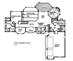 House Plan 57550 Level One  This is too fancy, but I like how closely the Dining room and Keeping room are located.
