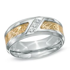 Men's 0.09 CT. T.W. Diamond Two-Tone Stainless Steel Tribal Wedding Band - Size 10  - Peoples Jewellers