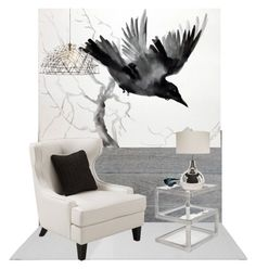 """fly away"" by chimechn ❤ liked on Polyvore featuring interior, interiors, interior design, home, home decor, interior decorating and Armen Living"