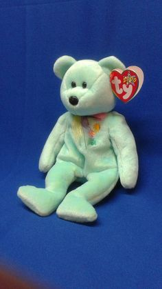 47fbf7cf941 ARIEL BEAR Ty Original Beanie Baby plush toy mint green fur pastel necktie  flower Sun on chest rare retired collectible Like new great gift