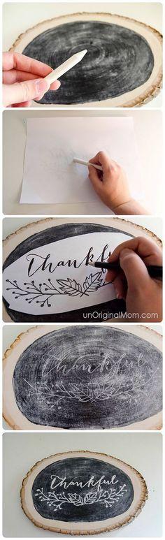 Thankful Letter Chalkboard Wood Slice Decor.