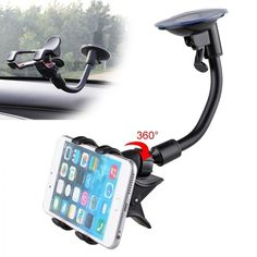 360 Car Windshield Mount Cradle Holder Stand For Mobile Cell Phone GPS iPhone - Ideas of Car Phone Holder Iphone Holder, Iphone Stand, Cell Phone Holder, Car Mount Holder, Car Holder, Iphone Mobile, Iphone Phone, Car Best, Iphone S6 Plus