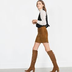HIGH HEEL LEATHER BOOTS WITH LACES, whiskey (brown suede lace up) $159, sale $111.30 | Zara