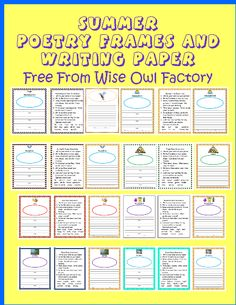 pictures of pages in the poetry writing PDF, summer theme, free