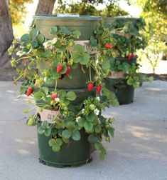 DIY strawberry tower from plastic flower pots - vertical garden (planting idea) // Eper torony műanyag virágcserépből házilag // Mindy - craft tutorial collection // #crafts #DIY #craftTutorial #tutorial #spring #SpringCrafts