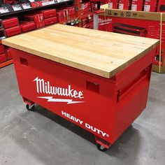 This just showed up at our local Home Depot It has a lock on it and I need to know what's inside  @milwaukeetool #NBHD