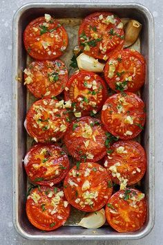Garlic Roasted Tomatoes | Easy Delicious Recipes