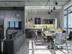 """The loft, автор Павел Алексеев, конкурс """"3d-проекты интерьеров в стиле лофт""""   PINWIN - конкурсы для архитекторов, дизайнеров, декораторов"""