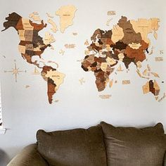 World Wall Map Anniversary Gift World Map Wooden Travel Push | Etsy Anniversary Gifts For Husband, Ocean Names, Home Symbol, Wooden Airplane, Countries And Flags, Double Sided Sticky Tape, Affordable Furniture Stores, Christmas Gifts For Husband