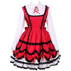 Partiss Women's Lace Ruffles Vintage Gothic Classic Lolita Dress ($55) ❤ liked on Polyvore featuring dresses, red dress, red lace dress, vintage dresses, ruffle dress and vintage cocktail dresses