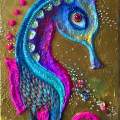 """This abstract wall sculpture is titled """"New Beginnings"""". This piece has thick layers of paint in a variety of colorus, rhinestones, modeling paste and crackle paste. Every single piece of the textu..."""
