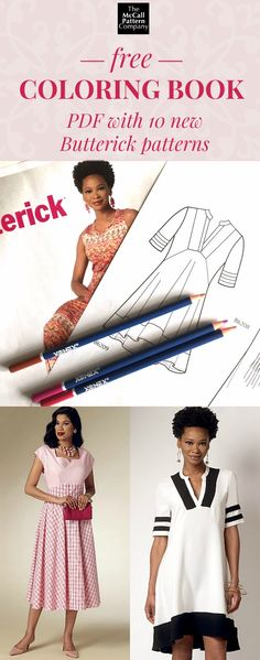 Download this free coloring booklet PDF featuring 10 new Butterick summer patterns. Doodle your sewing inspiration!  High-res line illustrations.