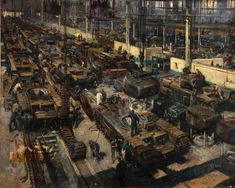 British World War Two propaganda artworks released on Wikipedia - Workers manufacture Churchill tanks on a factory production line. Artist: Terence Cuneo.