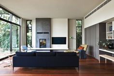 Grove House by Doherty Lynch Plinth fireplace and tv
