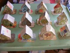 Paper House ornaments made by Norma- sixaguilars @ Etsy. Great to use leftover scrapbook paper for this pet girl boy Christmas Paper, Christmas Projects, Holiday Crafts, Home Crafts, Diy And Crafts, Paper Crafts, Christmas Ideas, Christmas Village Houses, Putz Houses