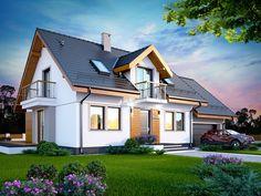 DOM.PL™ - Projekt domu DN KARMELITA BIS 2M CE - DOM PC1-47 - gotowy koszt budowy Dormer Bungalow, Spanish House, Home Fashion, Garden Art, Future House, House Plans, Castle, House Design, Cabin
