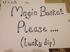 Lucky dip activity - small prizes wrapped and buried inside the magic basket!