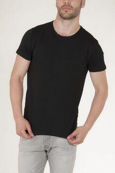 Κοντομάνικη μπλούζα μαύρη με στρογγυλή λαιμόκοψη αντρικό sorbino