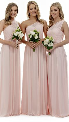 A-line One Shoulder Sleeveless Pleated Long Chiffon Bridesmaid Dress