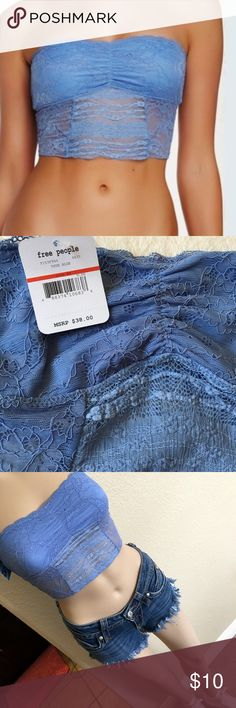 """FP True Blue Lace Bandeau NWT Free People Intimately~ True Blue Lace Bandeau. Fully Lined. Ruched in the center. Contrasting embroidered lace in back and front. Size XS 12"""" flat across chest without stretch. 9.5"""" length. Free People Tops"""